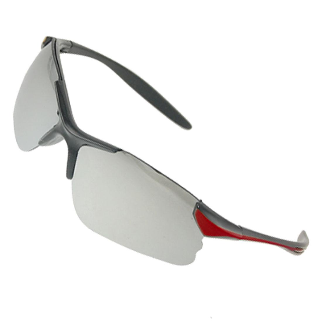 Unisex Half Frame Mirror Lens Sport Sunglasses Black Burgundy