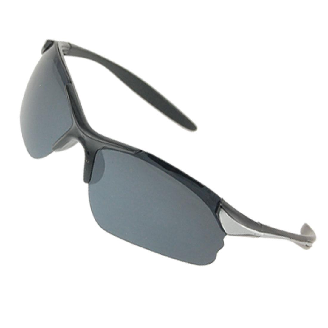 Blue Black Plastic Half Rim Lens Sunglasses for Ladies