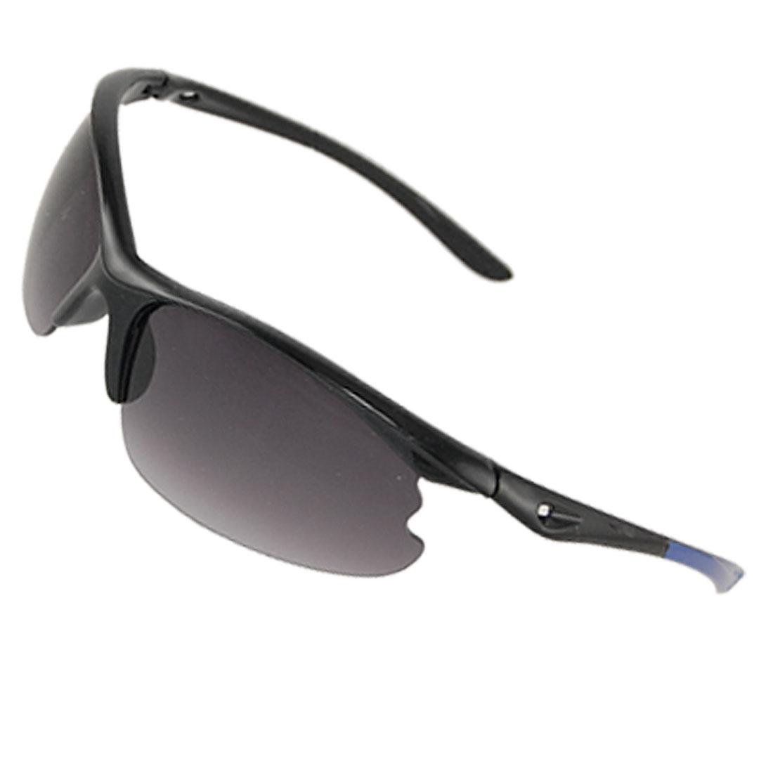 Unisex Plastic Half Rim Cut Out Arms Sunglasses Black Blue