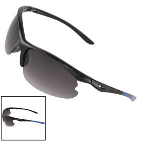 Unisex Plastic Half Rim Cut Out Arms Sunglasses Black Blue