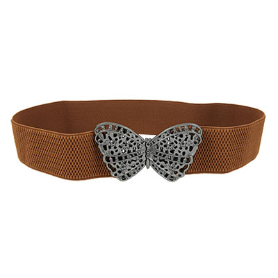 Lady Butterfly Shaped Buckle Brown Elastic Waist Belt