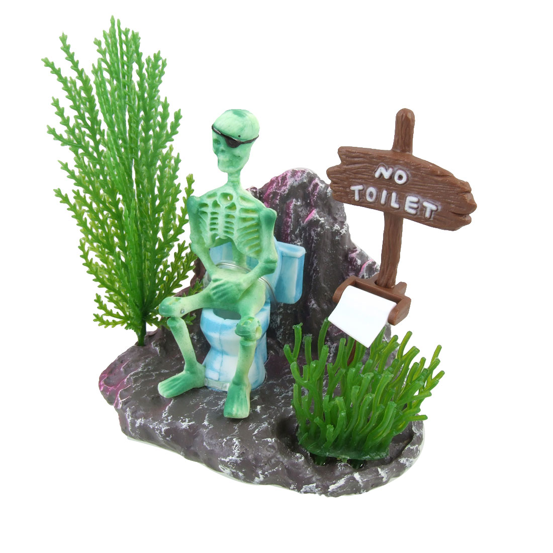 Fish Tank Ornament Green Plastic Action Skeleton On Toilet