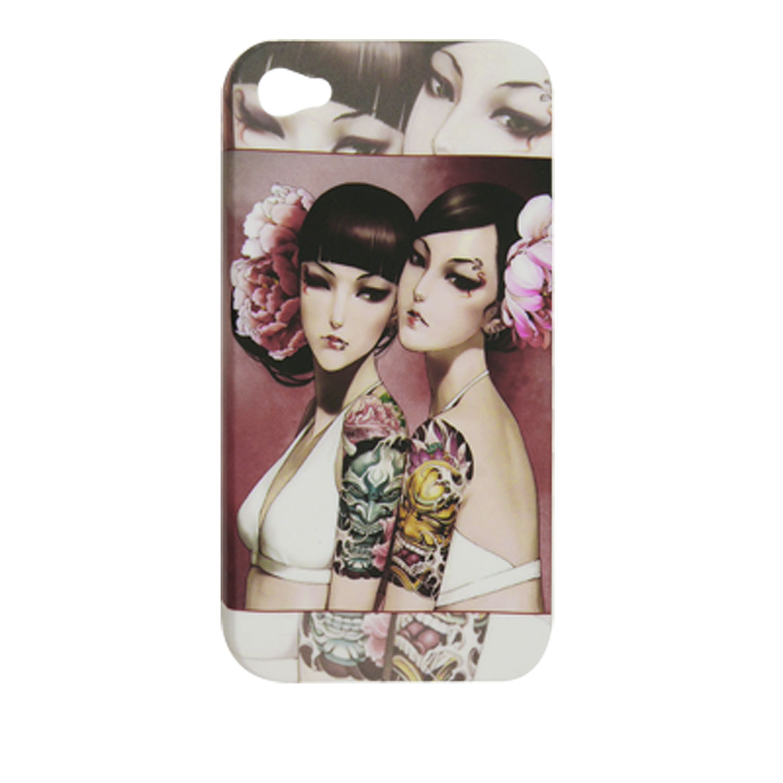 Twins Pattern Rubberized Plastic Cover for iPhone 4 4G