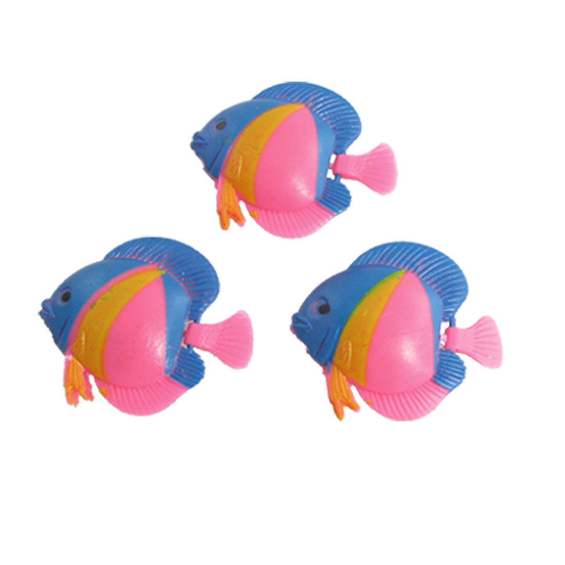Floating Tail Pink Blue Plastic Tropical Fish Ornament 3 Pcs