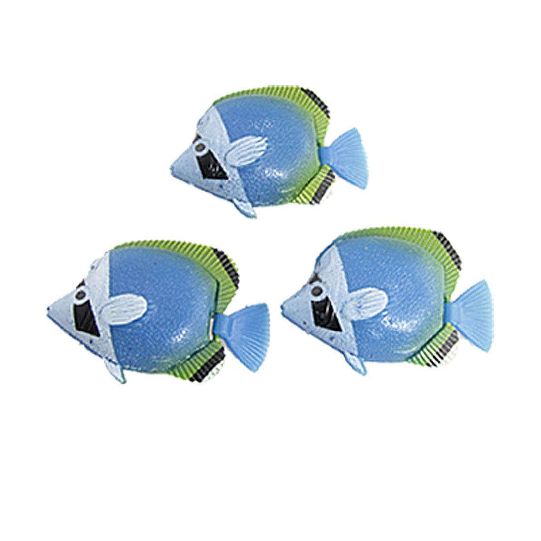 Blue Plastic Tropical Floating Tail Fish Aquarium Ornament 3PCS