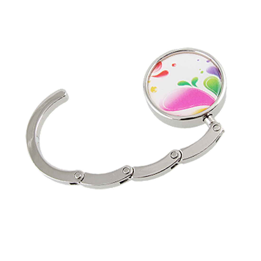 Colorful Prints Rubber Base Round Foldable Handbag Hook Purse Hanger