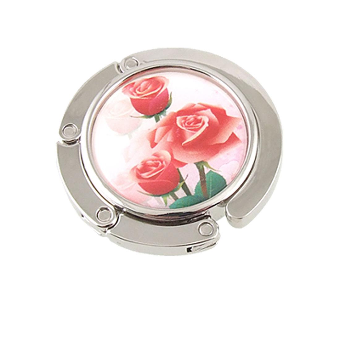 Red Rose Flowers Alloy Foldable Handbag Hook Table Hanger for Lady