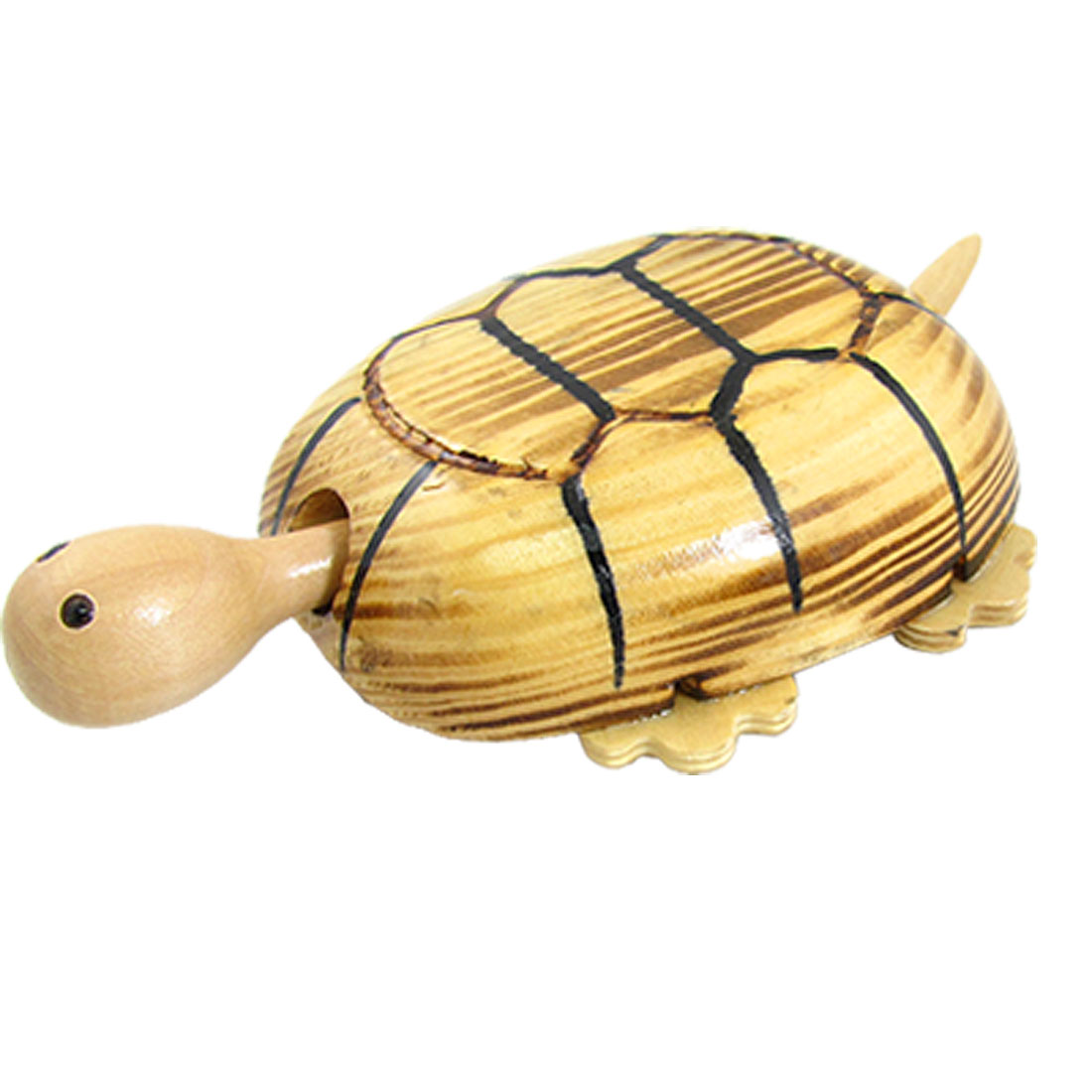 Children Wooden Hand Carve Tortoise Toy w 4 Wheels