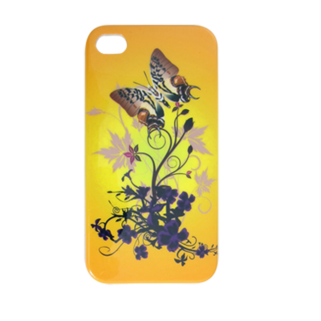 Hard Plastic IMD Flower Butterfly Print Cover for iPhone 4 4G