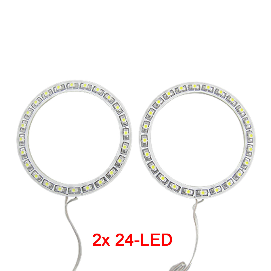 White 2 x 80mm Angel Eyes 24 SMD LED Ring Car Light Headlight