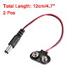 2 Pcs 2.1 x 5.5mm Male DC Power Plug to 9V Battery Clip Connector Cable