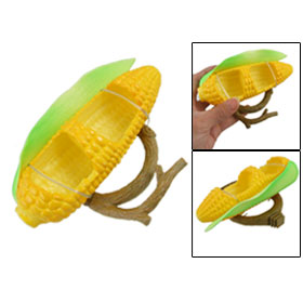 2 Compartment Yellow Corn Shape Plastic Feeder for Birds