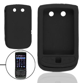 Black Silicone Plastic Cover for BlackBerry Torch 9800