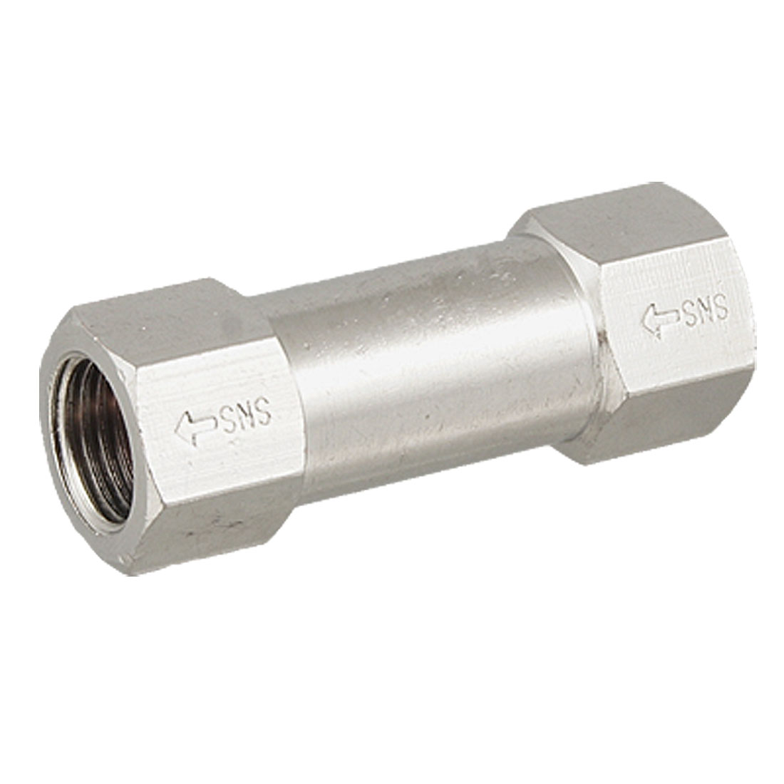 "Silver Tone Metal 0.45"" Threaded Hole Air Water One Way Check Valve"