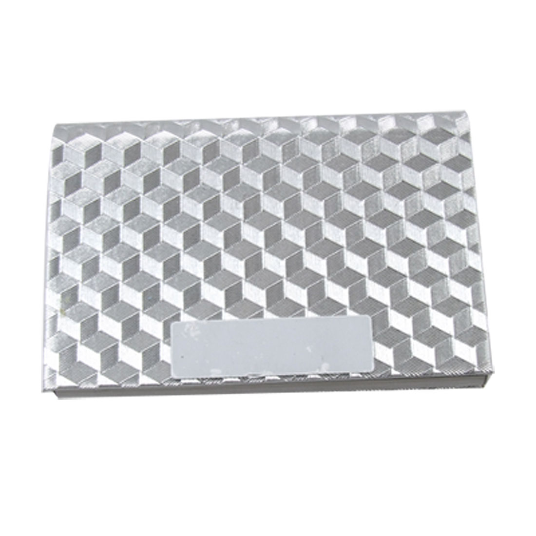 Silver Tone Rhombus Faux Leather Coated Bank Name Card Case