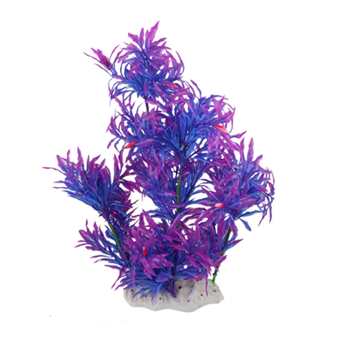 Aquriumm Ornament Purple Blue Leaves 36cm High Plastic Plant