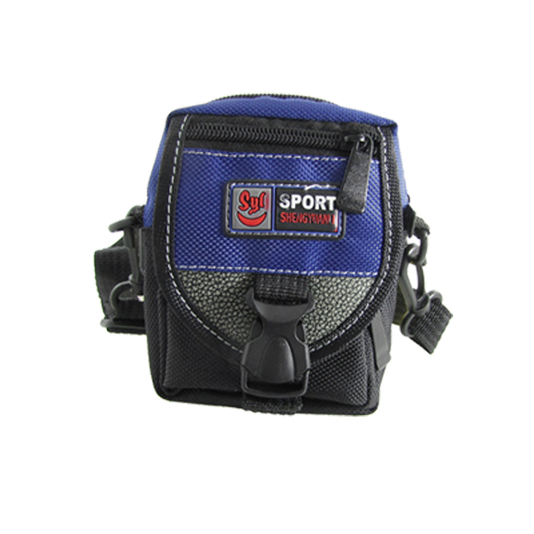 Black Blue Zipper Nylon Digital Camera Pouch Bag with Strap