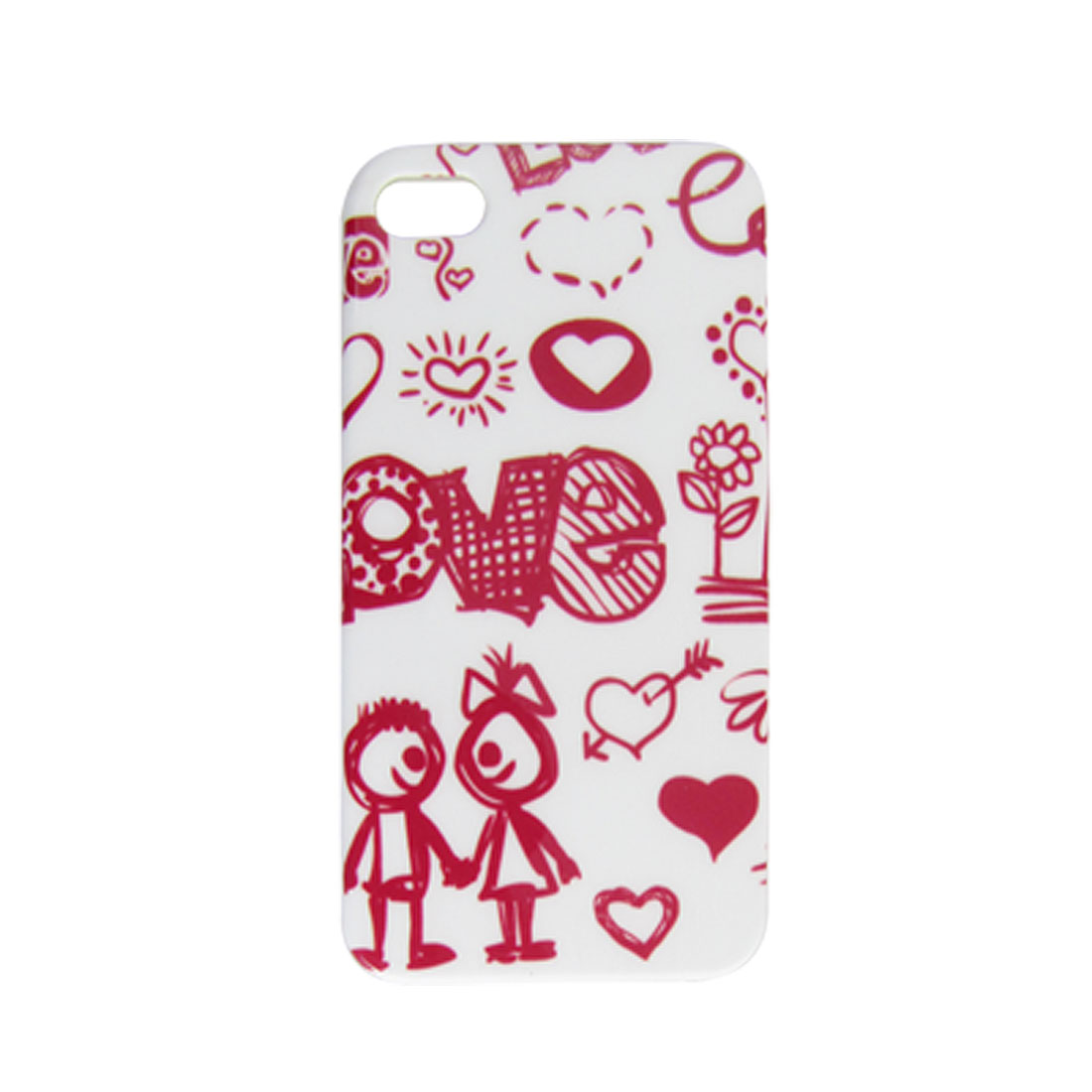 Heart Flower People Pattern Hard Plastic IMD Back Case for iPhone 4 4G