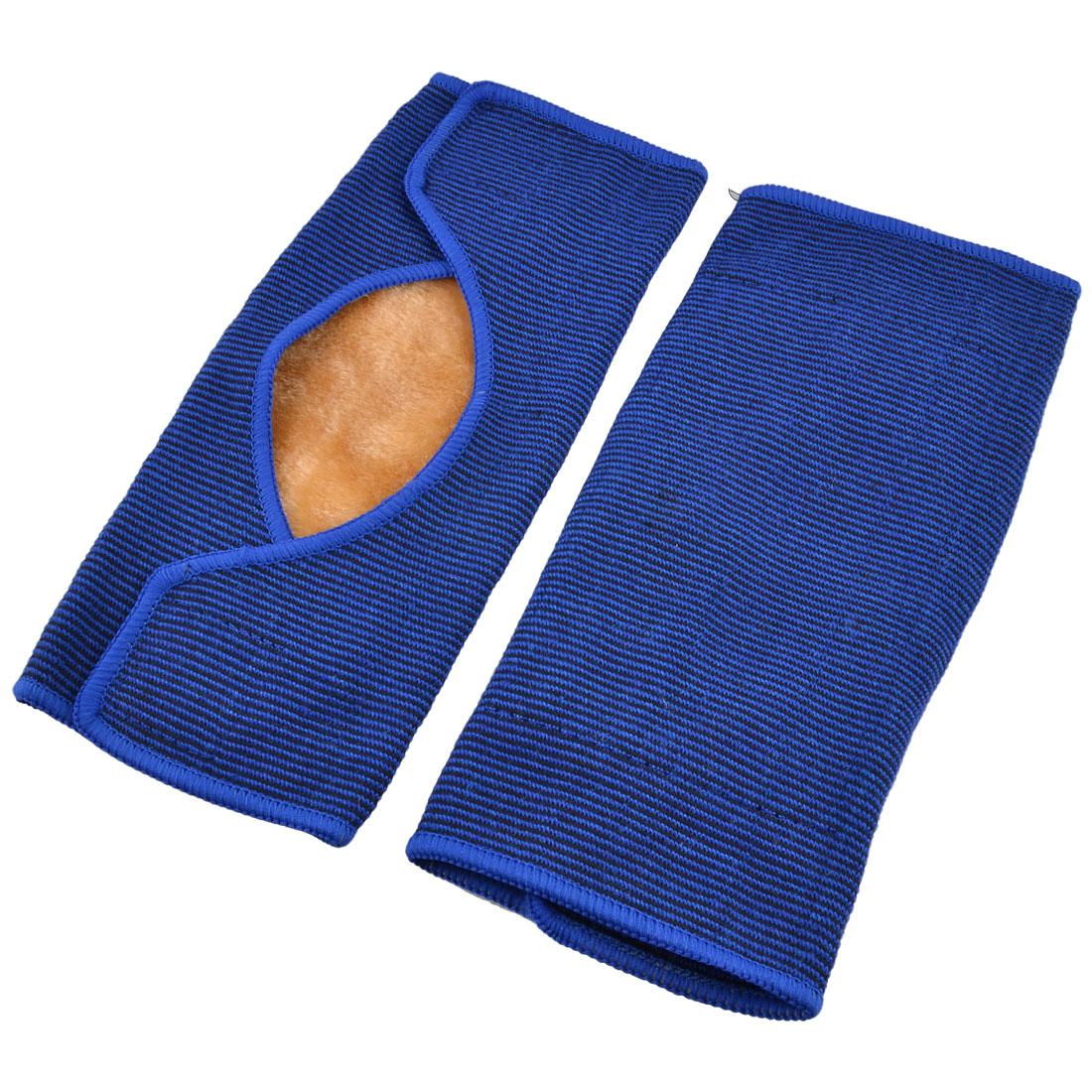2Pcs Blue Black Stripe Plush Lined Elastic Knee Support