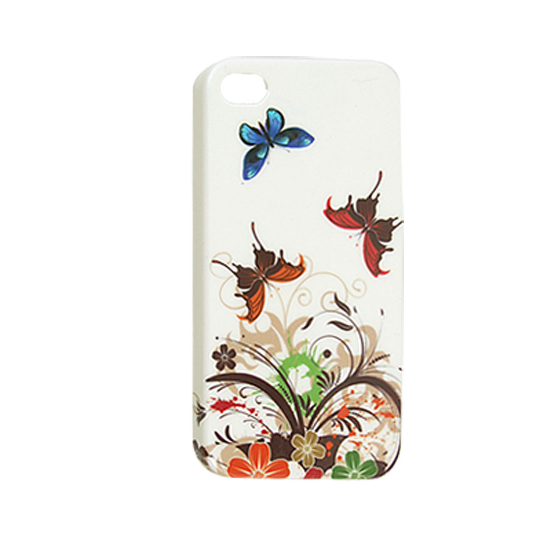 Butterfly Flower Hard Plastic IMD Back Cover for iPhone 4 4G
