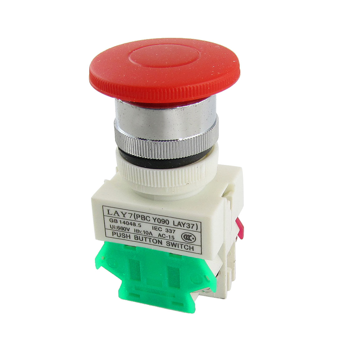 660V 10A 40mm Red Sign Mushroom Momentary Push Button Switch 1 NO N/O 1 NC N/C