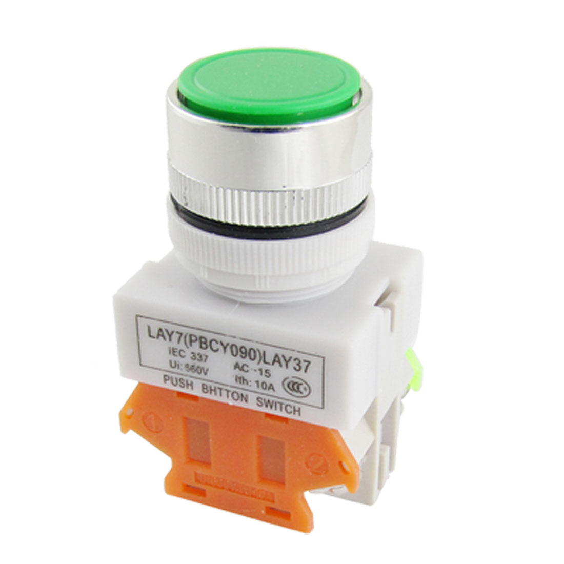 AC 660V 10A Green Sign Momentary Push Button Switch Pushbutton 22mm 1 NO 1 NC