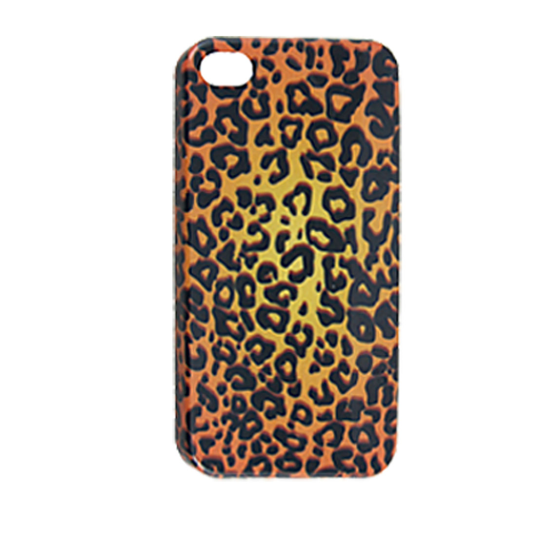 Yellow Black Leopard Print Plastic IMD Back Cover for iPhone 4 4G