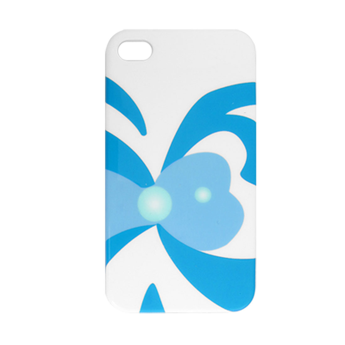 Blue Butterfly Print White IMD Plastic Back Case for iPhone 4 4G