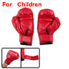 Faux Leather Sponge Padded Sparring Boxing Gloves Red