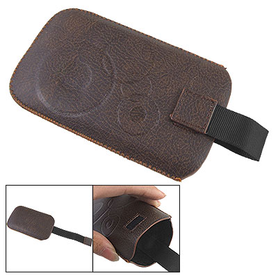 Brown Faux Leather Circles Pull Strap Pouch for Mobile Phone