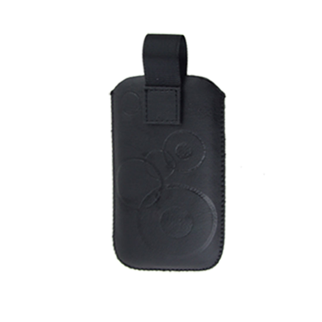 Black Faux Leather Circles Pull Strap Pouch for Nokia 5800