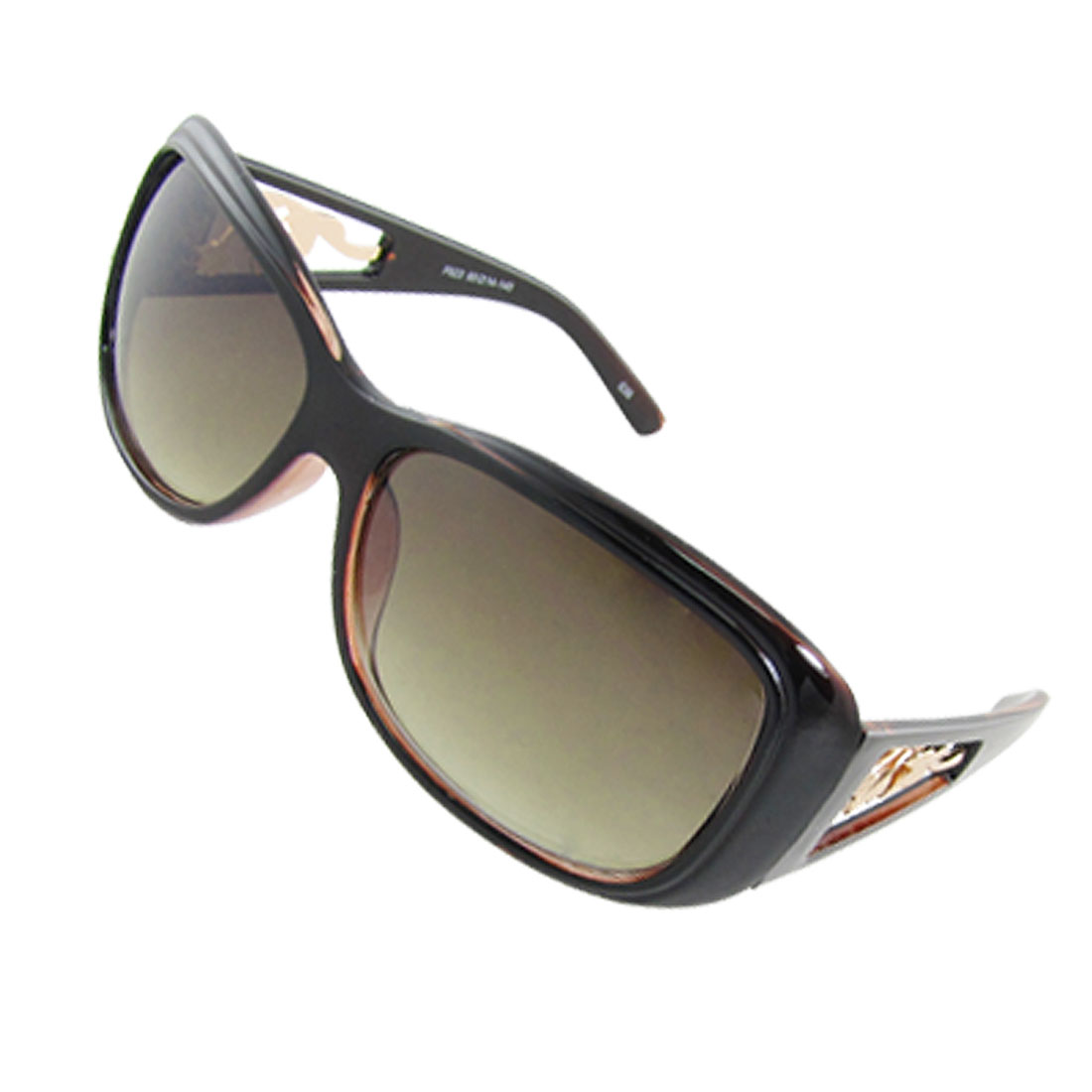 Ladies Dark Brown Plastic Frame Floral Temple Sunglasses