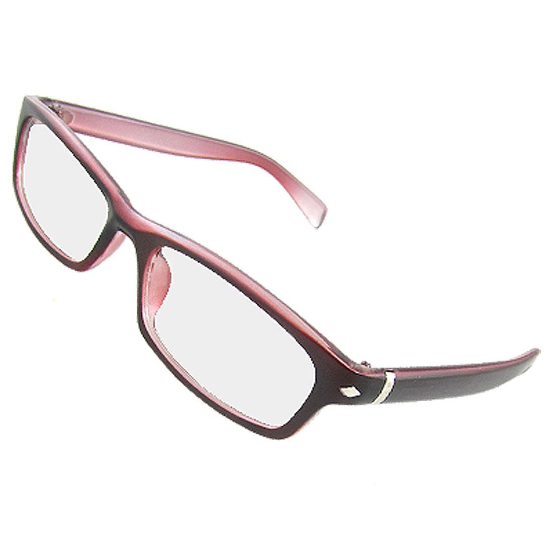 Dark Red Arms Full Frame Multi Coated Lens Plain Glasses for Ladies