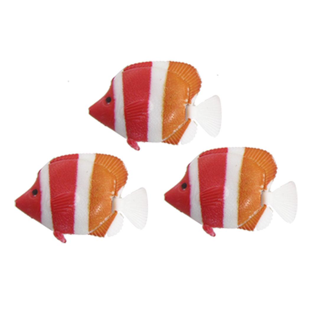 Orange Red Stripe Plastic Floating Fish Decor for Tank Aquarium
