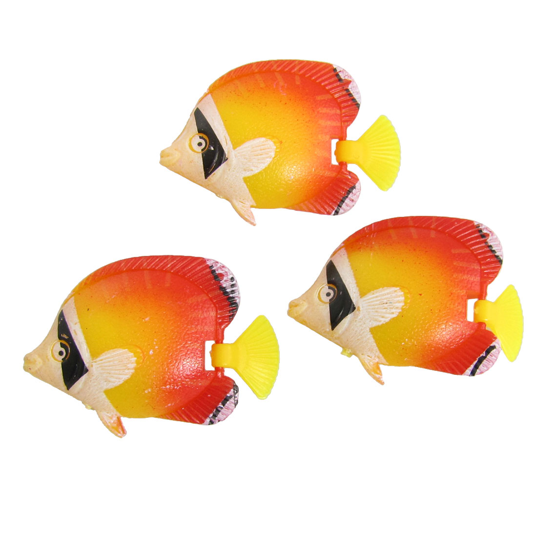 Orange Red Yellow Plastic Tropical Fish Aquarium Decoration