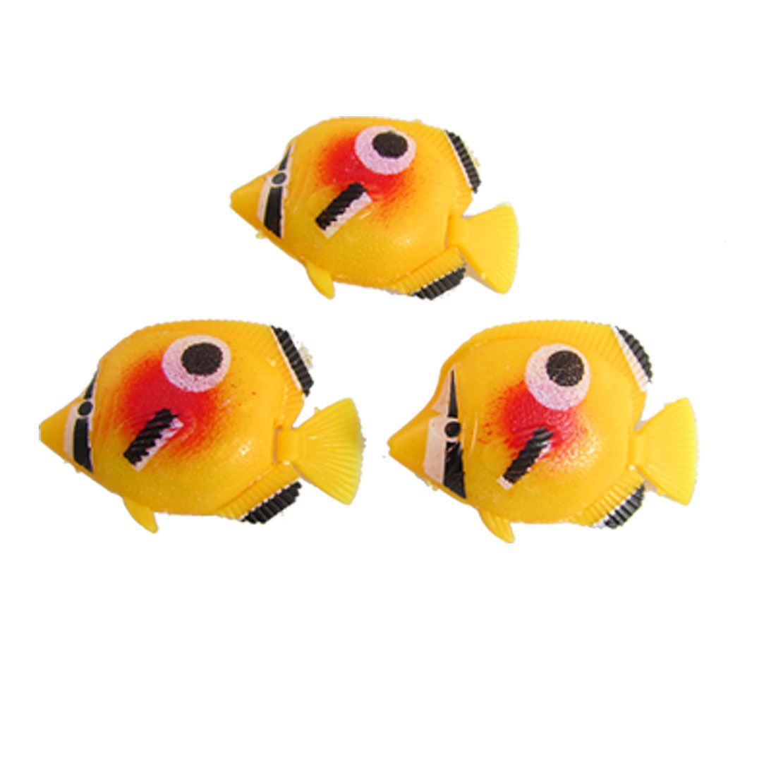 Yellow Black Plastic Fish Aquarium Decoration 3 Pcs
