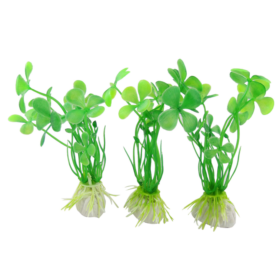 3Pcs Green Plastic Clover Plant Grass Fish Tank Decoration