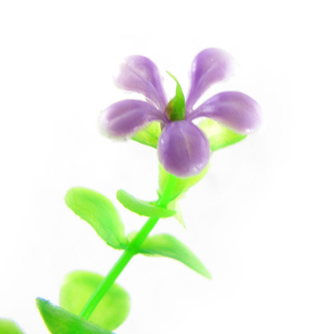 3Pcs Plastic Purple White Flower Green Leaves Decor Fish Tank