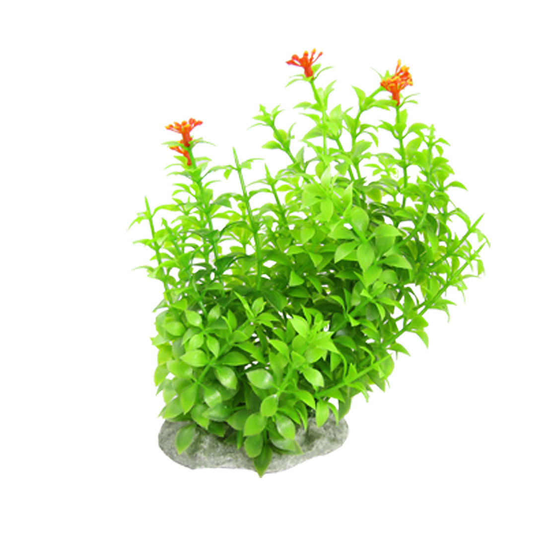 Orange Red Flower Green Leaf Plant Decoration Fish Tank