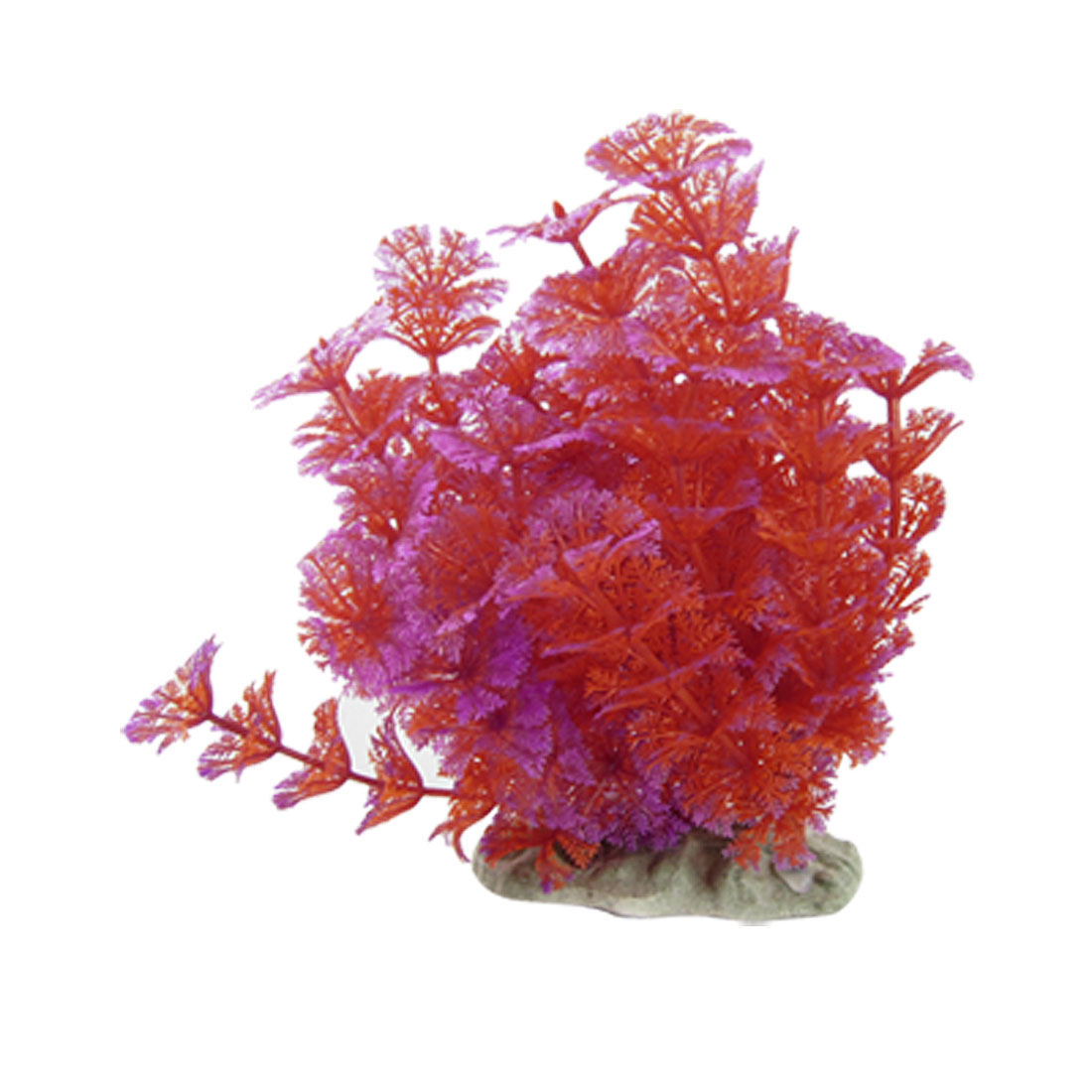 Plastic Red Fuchsia Plant Aquarium Ornament Decoration