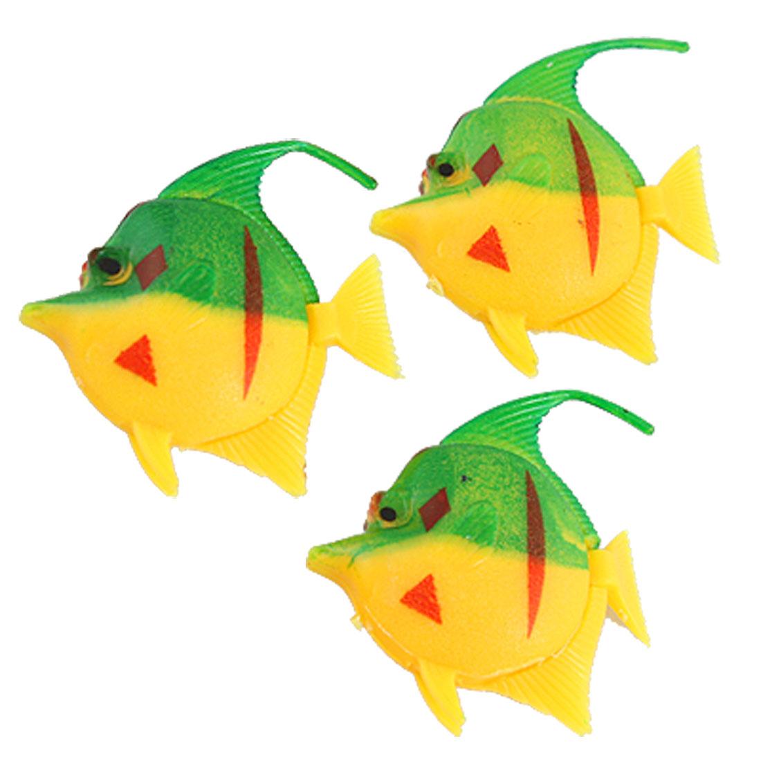 Yellow Green Plastic Floating Tail Fish Aquarium Decor 3 Pcs
