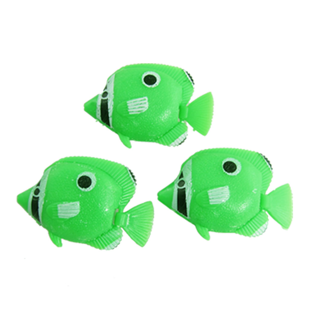Floating Tail Green Plastic 3 Pcs Tropical Fish Aquarium