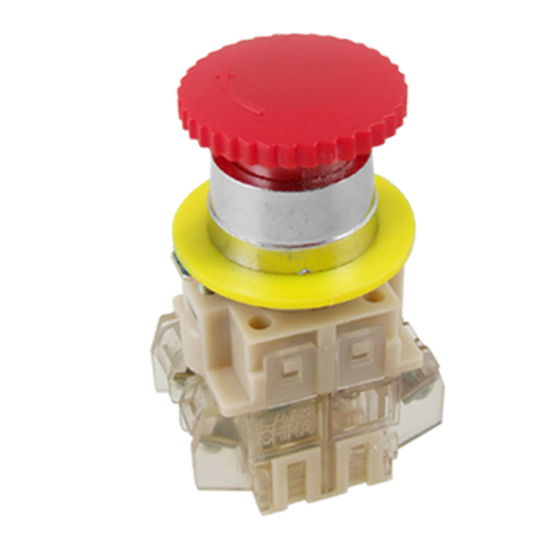 AC 660V 10A Red Sign Mushroom Emergency Stop Push Button Switch DPST 1 NO 1 NC