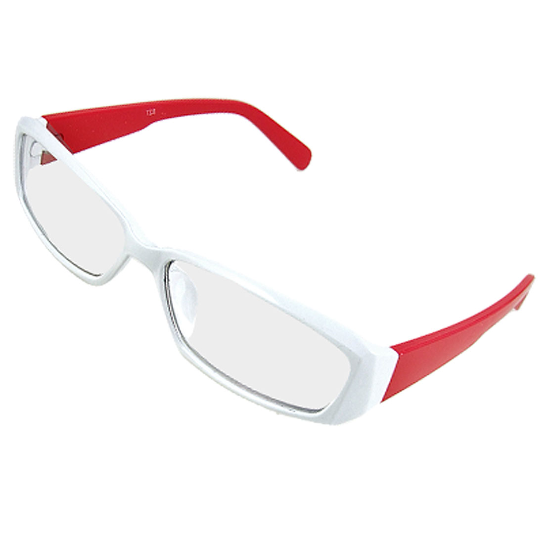 Lady Rectangle Multi Coated Lens Red Arm White Plano Glasses