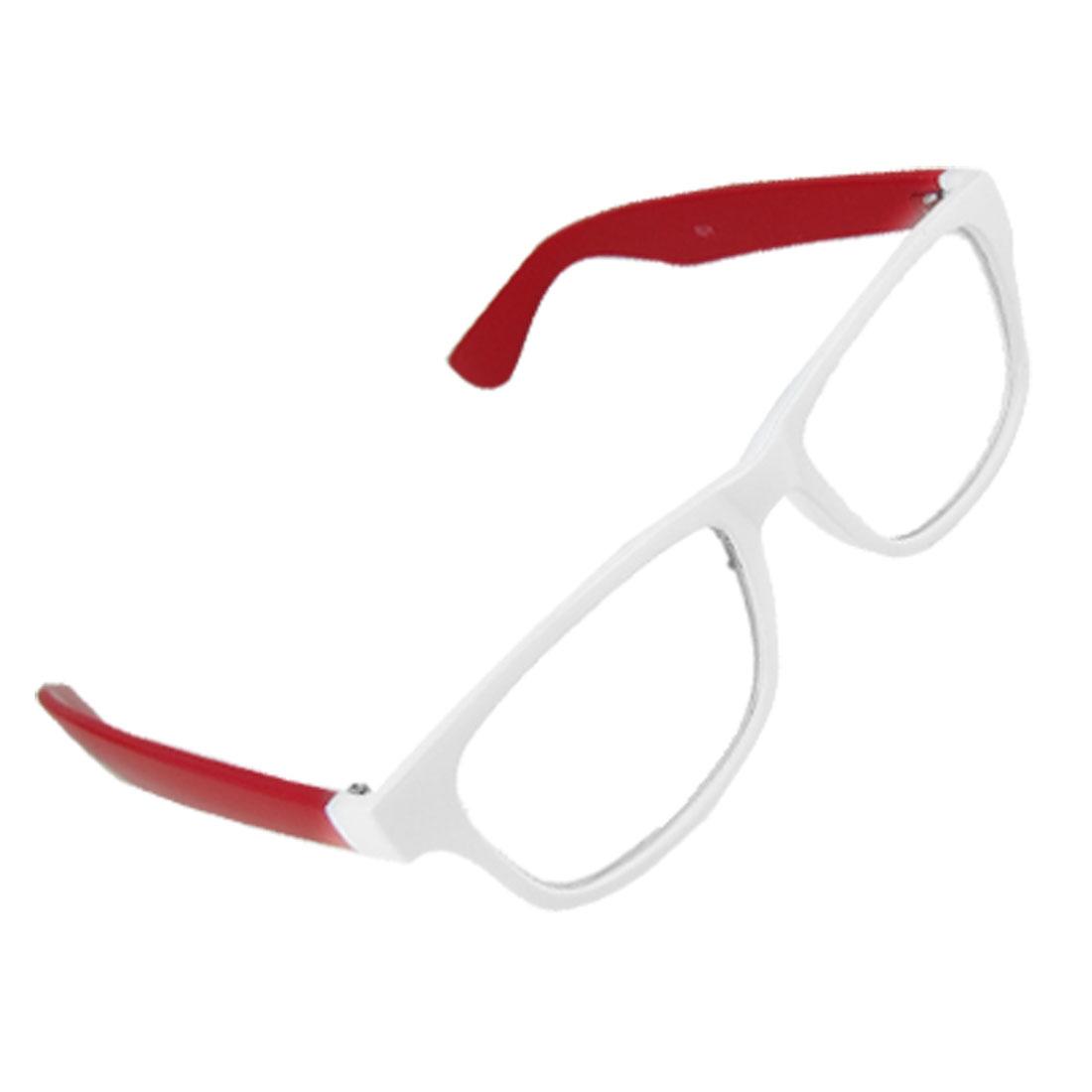 Lady Multi Coated Lens Red Arm White Full Rim Plano Glasses