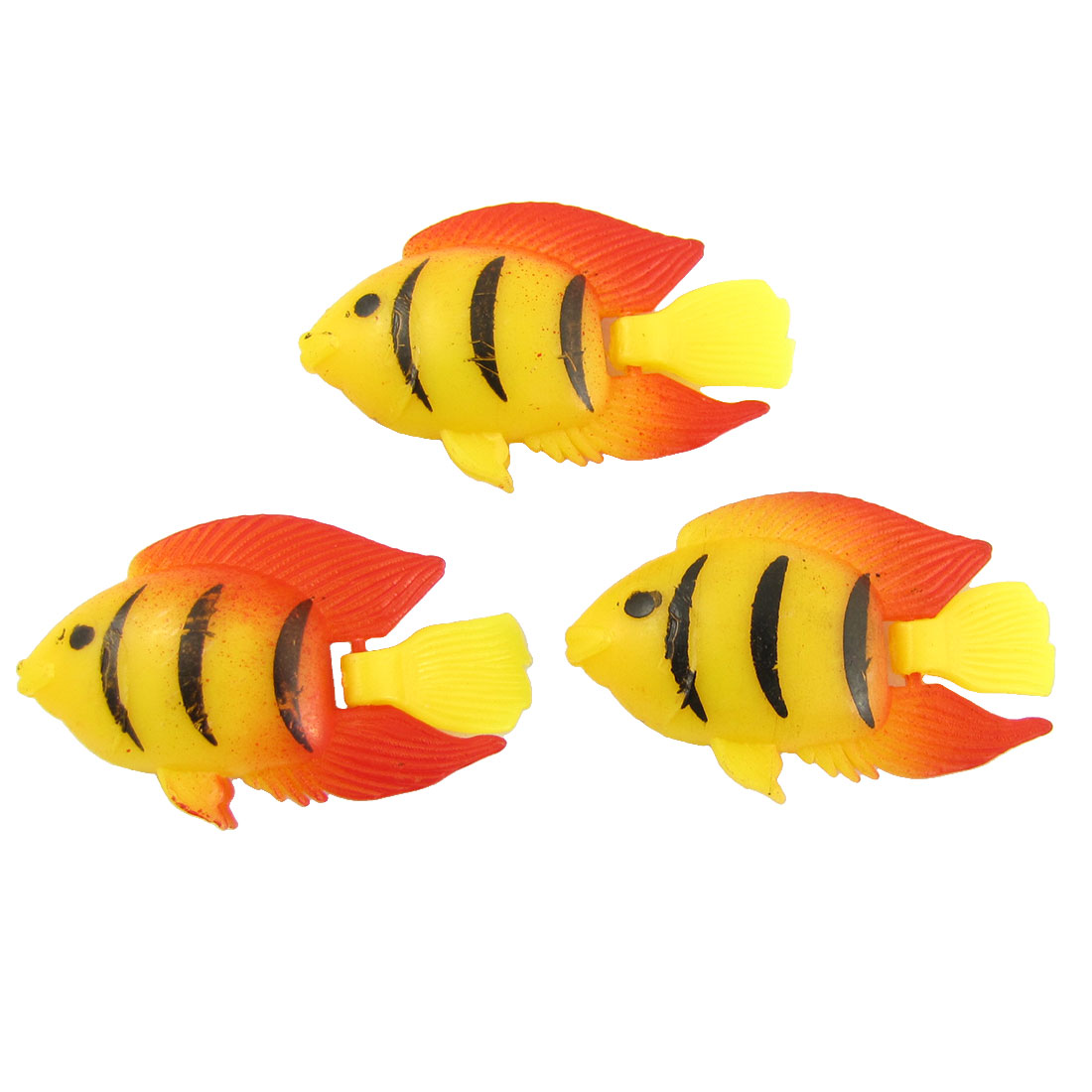 Black Striped Orange Fins Aquarium Plastic Fish 3 Pcs