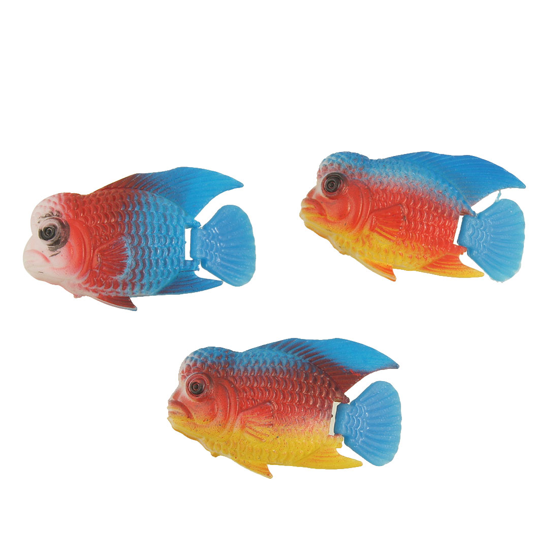 Aquarium Blue Yellow Fins Plastic Sea Fish Decoration