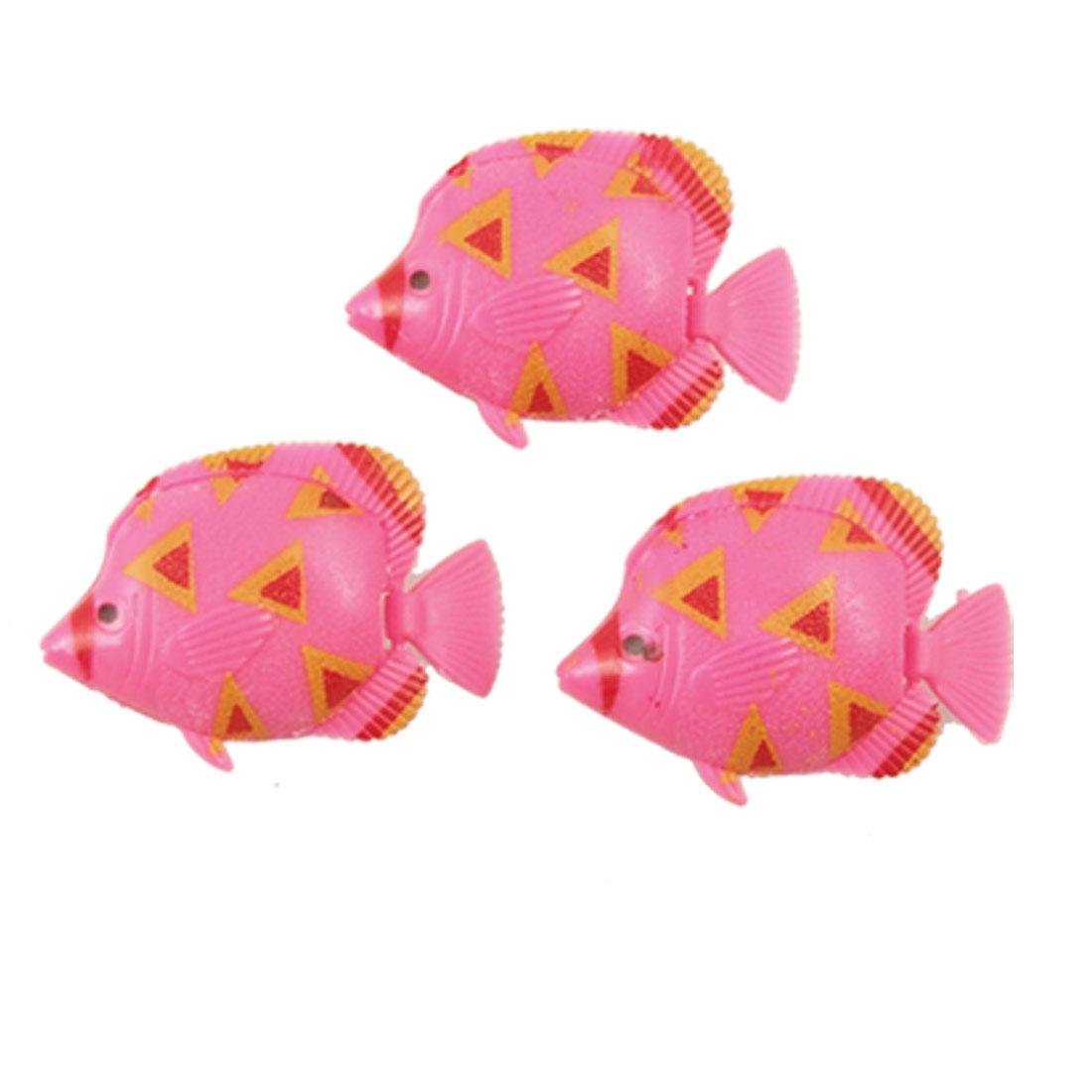 Pink Yellow Plastic Tropical Fish Aquarium Decoration