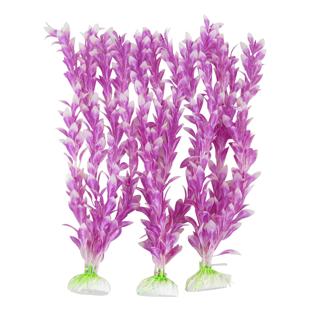Aquarium Aquascape Plastic Plant Decoration Purple White 3Pcs