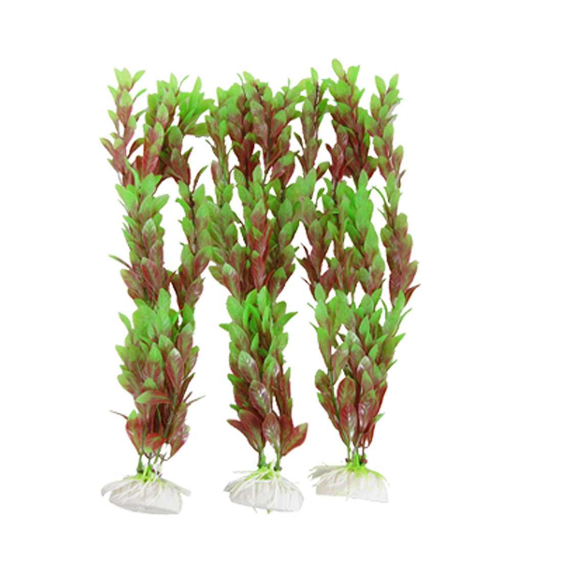 Fish Tank Aquascape Ornament Plastic Bacopa Lanigera Red Green 3Pcs
